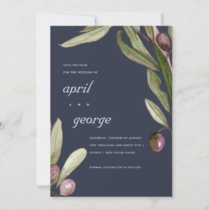 NAVY OLIVE WATERCOLOR FOLIAGE SAVE THE DATE CARD