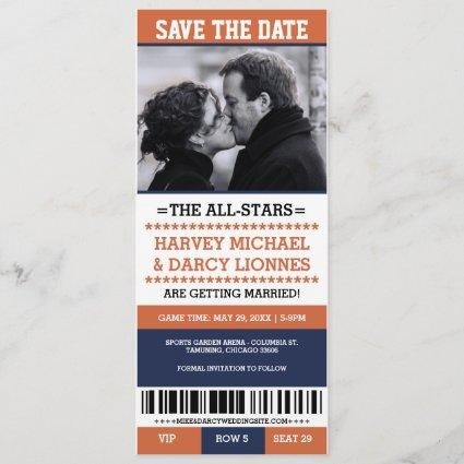 Navy & Orange Sports Ticket Save the Date