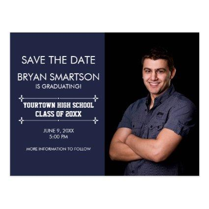 Navy Personalized Photo Graduation Save the Date Cards