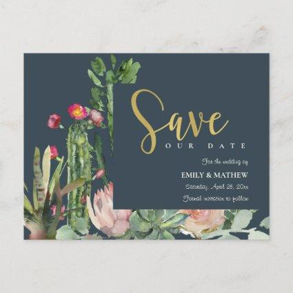 NAVY PINK FLORAL DESERT CACTI FAUNA SAVE THE DATE ANNOUNCEMENT