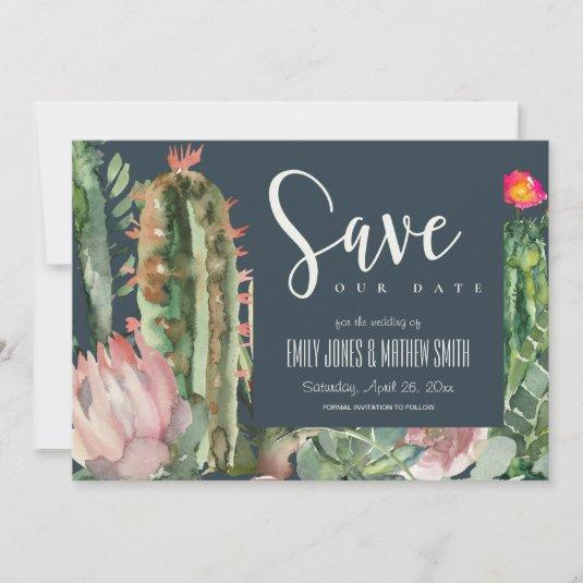 NAVY PINK FLORAL DESERT CACTI FOLIAGE WATERCOLOR SAVE THE DATE