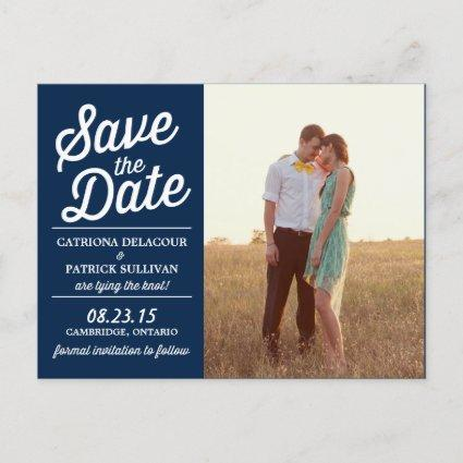 Navy Retro Script Photo Save the Date Cards