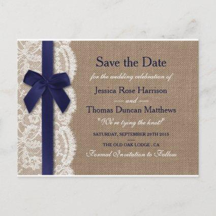 Navy Ribbon On Burlap & Lace Save The Date Announcement