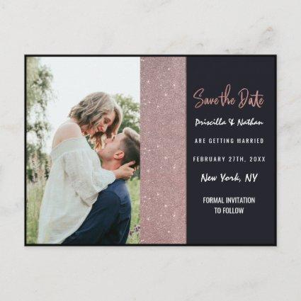 Navy Rose Gold Glitter Color Block Save the Date Announcement