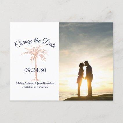 Navy Rose Gold Palm Tree Wedding Change Date Photo Announcement