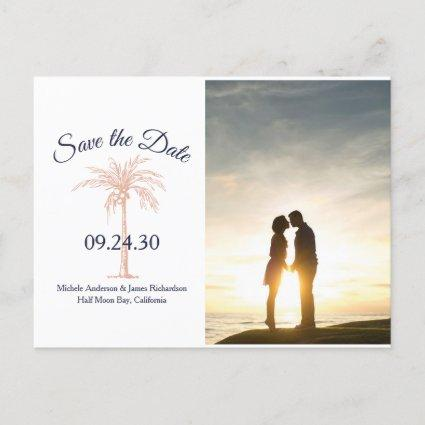 Navy Rose Gold Palm Tree Wedding Save Date Photo Announcement