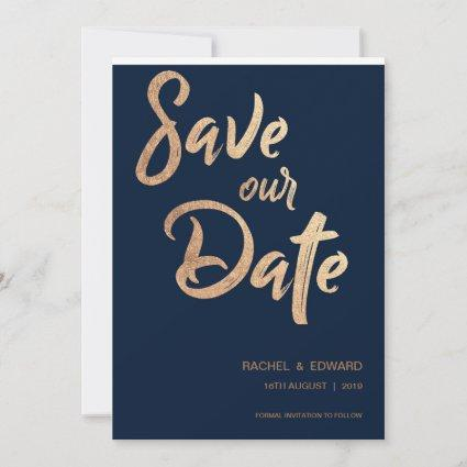 Navy Rose Gold Typography Wedding Save The Date