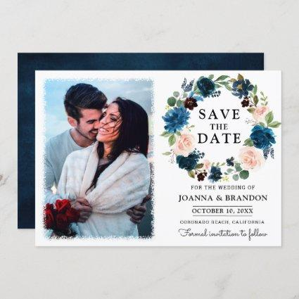 Navy Royal Blue Blush Floral Save the Date Invitation