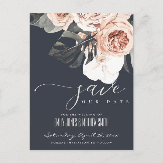 NAVY RUST MONSTERA WATERCOLOR FLORAL SAVE THE DATE ANNOUNCEMENT