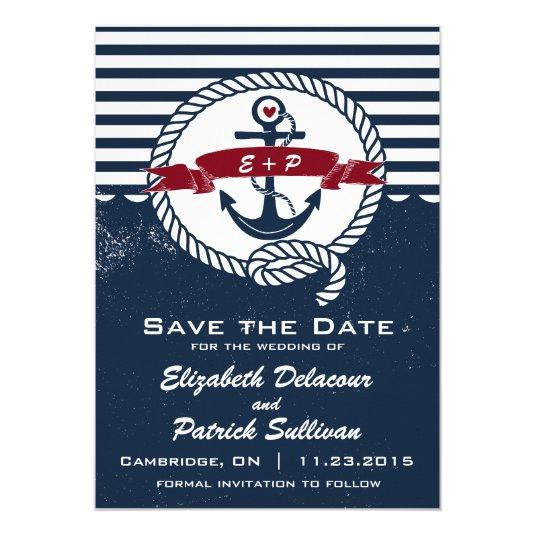 Navy Rustic Nautical Save The Date Announcement