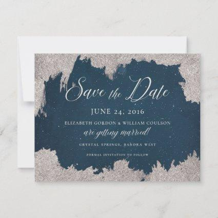 Navy Silver Star Celestial Winter Frost Wedding Save The Date