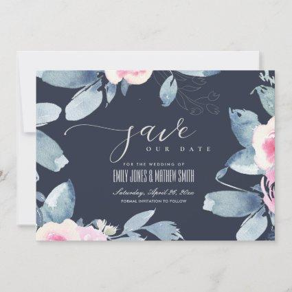 NAVY SOFT BLUSH BLUE FLORAL WATERCOLOR FRAME SAVE THE DATE