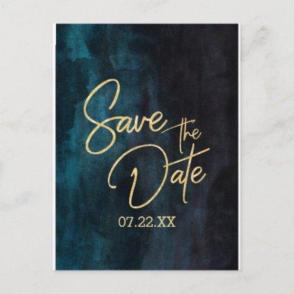 Navy Teal Watercolor & Gold Wedding Save the Date Announcement