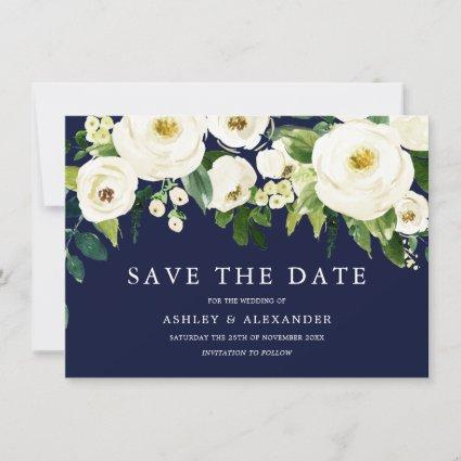 Navy & White Blooming Flowers Elegant All Seasons Save The Date