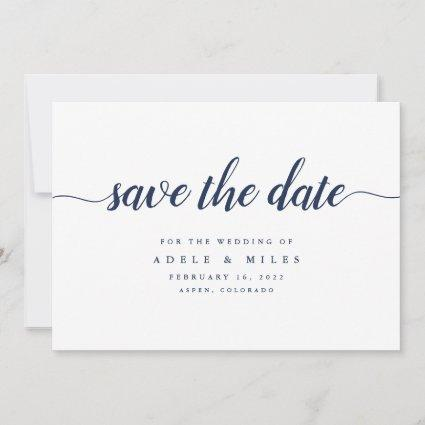 Navy & White Calligraphy Save the Date Card
