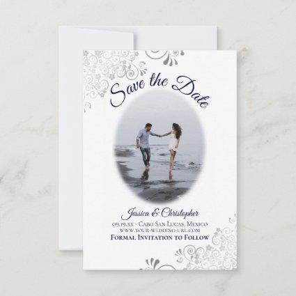 Navy & White Simple Elegant Wedding Oval Photo Save The Date
