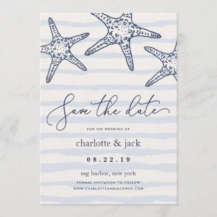 Navy & White Starfish Save the Date Card