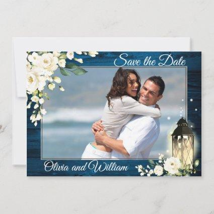 Navy Wood  White Roses Photo Wedding Save The Date