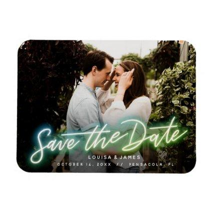 Neon Horizontal Photo Save the Date Magnet