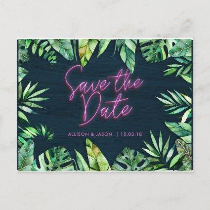Neon Tropical Save the Date Announcement