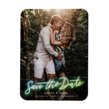 Neon Vertical Photo Save the Date Magnet