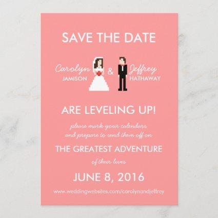 Nerdy Pink 8-Bit Bride & Groom Save the Dates Save The Date