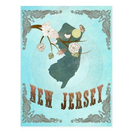 New Jersey Map With Lovely Birds Cards