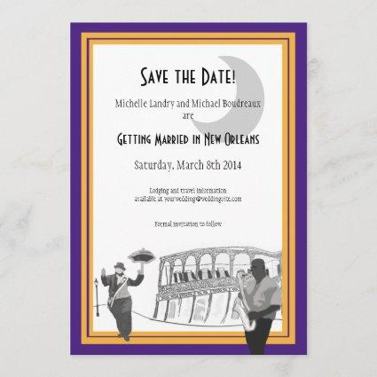 New Orleans Jazz Save the Date (purple & gold)