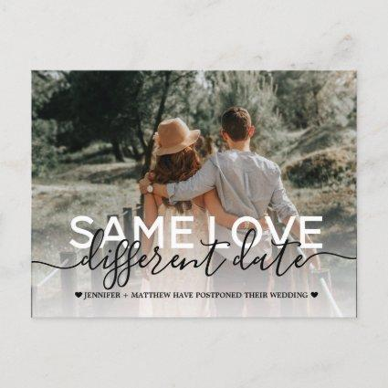 New plan modern typography wedding change the date announcement