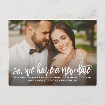 New Wedding Date | Brush Lettered Script Photo Announcement