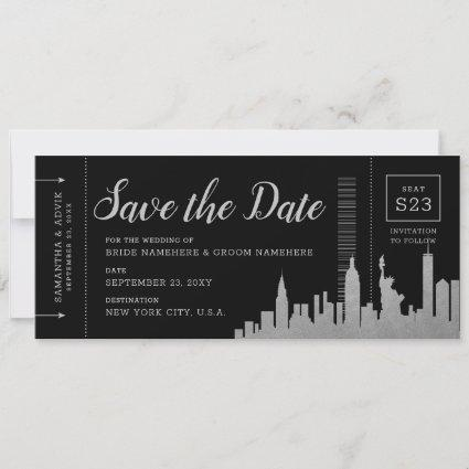 New York City Destination Silver Boarding Pass Save The Date