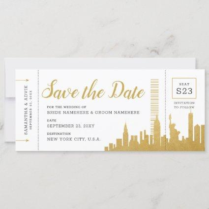 New York City Skyline Boarding Pass Save Date Card
