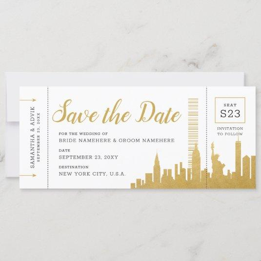 New York City Skyline Boarding Pass Save the Date Announcement