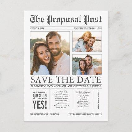 Newspaper News Unique Three Photos Save the Date Announcement
