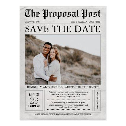 Newspaper Save the Date Photo