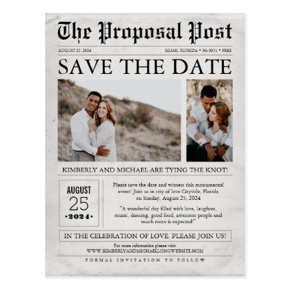 Newspaper Save the Date Two Photos