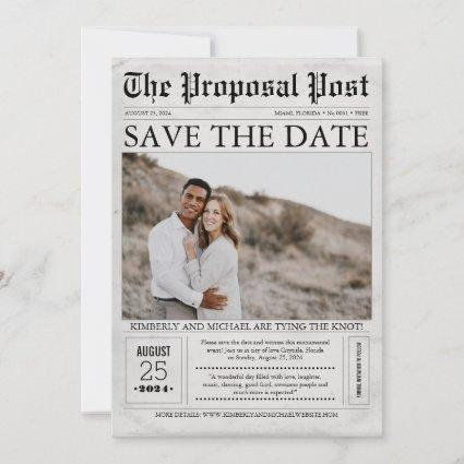 Newspaper Style Fun Save the Date Photo
