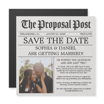 Newspaper Wedding Save The Date Magnets
