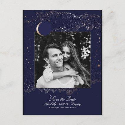 Night Stars Navy and Gold Photo Save the Date Announcement