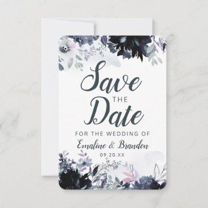 Nocturnal Floral Navy Dusty Blue Brush Strokes Save The Date