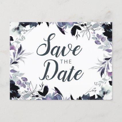 Nocturnal Floral Watercolor Elegant Save the Date Announcement
