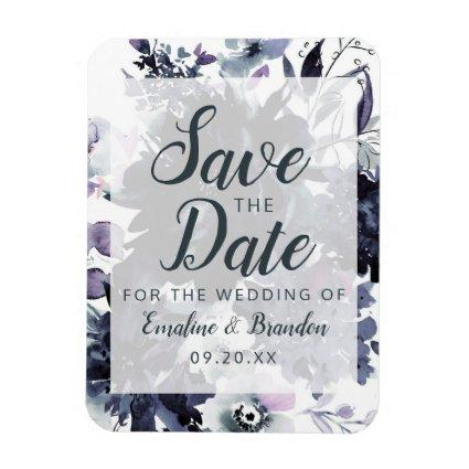 Nocturnal Floral Watercolor Trendy Save the Date Magnet