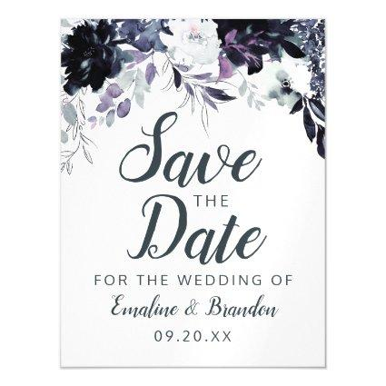 Nocturnal Floral Watercolor Wedding Save the Date Magnetic Invitation