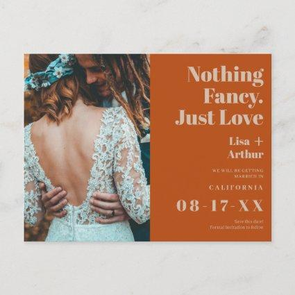 Nothing fancy just love photo orange save date