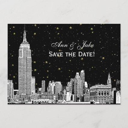 NYC Skyline 01 Etch DIY BG Color Save the Date Blk