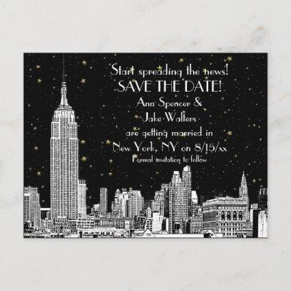 NYC Skyline 01 Etched DIY BG Starry Save the Date Announcement