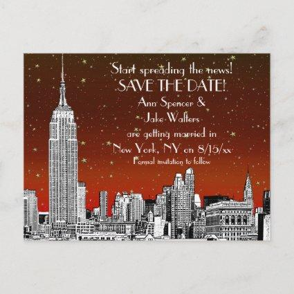 NYC Skyline 01 Etched Red Starry Save the Date Announcement