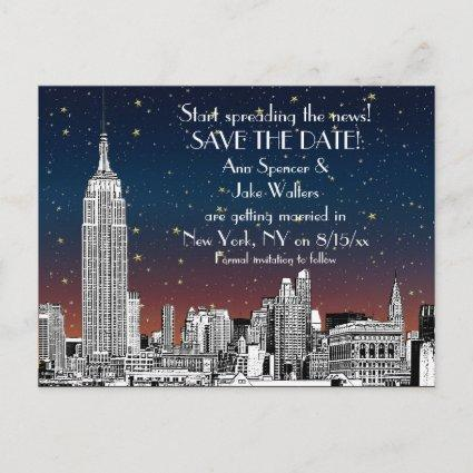 NYC Skyline 01 Etched Sunset Starry Save the Date Announcement