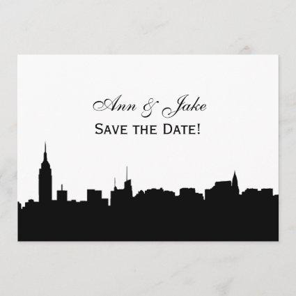 NYC Wide Silhouette DIY BG Color Save the Date Wh2