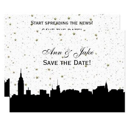 NYC Wide Silhouette DIY BG Color Save the Date Wht
